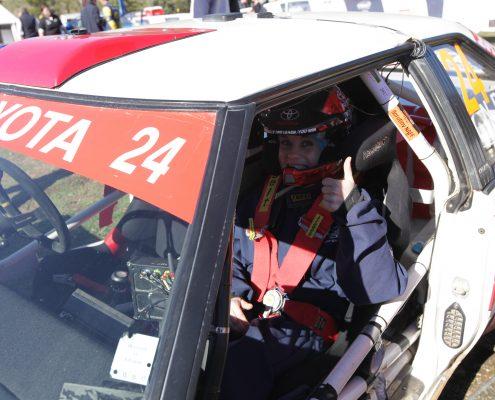 Jess in Neal Bates Rally Car
